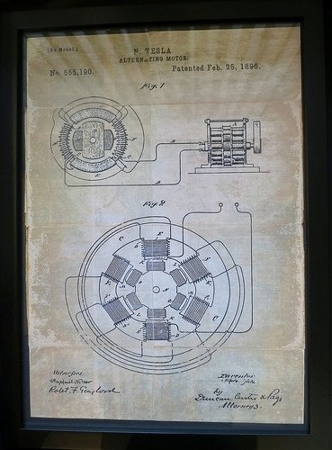 Alternating Current generator: Tesla, patent No. 555190 from 25 Feb 1896